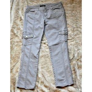 White House Black Market Gray Jeans w/ Rhinestones